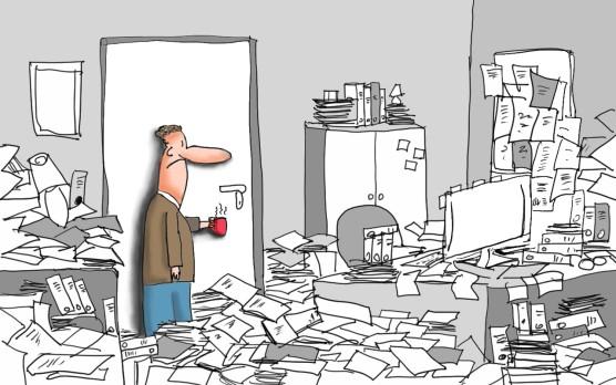 büro-chaos, aufräumen, entrümpeln, magic-cleaning